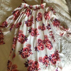 Flowered White Dress
